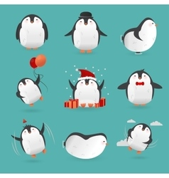Collection of cute cartoon penguins characters vector image vector image