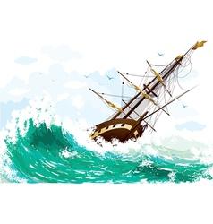 Ship at sea vector