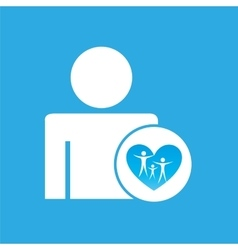 silhouette man with family care health graphic vector image vector image