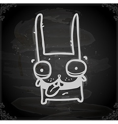 Smiling bunny drawing on chalk board vector