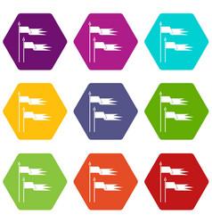 Ancient battle flags icon set color hexahedron vector