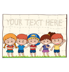 background template with happy children vector image
