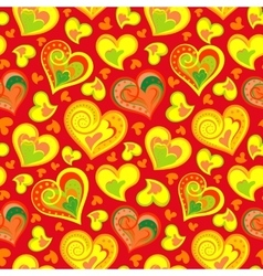 Hand drawn doodle seamless pattern of hearts vector image vector image