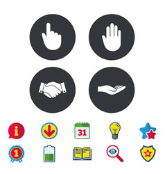 Hand icons handshake and click here symbols vector