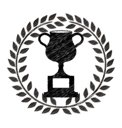 monochrome striped trophy cup with olive crown vector image vector image