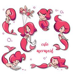 set of cute cartoon mermaids vector image