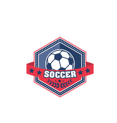 soccer ball shield badge of football sport game vector image