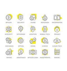 unique digital money and bitcoin line icon or vector image