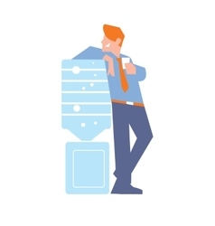 Business banner with businessman near water cooler vector image