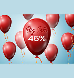 red balloons with an inscription big sale forty vector image vector image