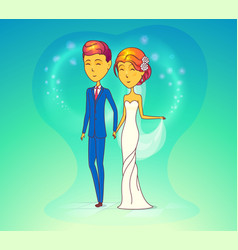 wedding ceremony with husband and wife vector image vector image