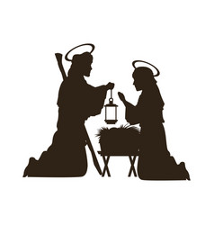 black silhouette nativity scene catholic vector image