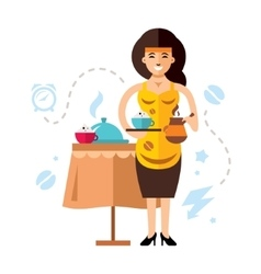 Girl and coffee Flat style colorful vector image vector image