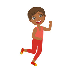 little happy boy running boy in motion a vector image