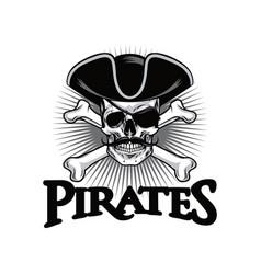 pirate skull with mustache cross bones wears hat vector image vector image
