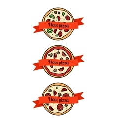 Pizza icons set with ribbons vector image vector image