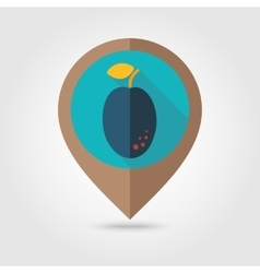 Plum flat mapping pin icon vector image vector image