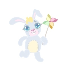 Rabbit Playing With Toy Windmill vector image
