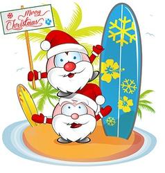 santa claus cartoon on island beach vector image