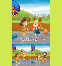 scenes with girls playing basketball at the courts vector image vector image