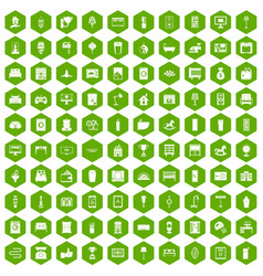 100 interior icons hexagon green vector image