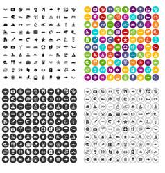 100 sea life icons set variant vector