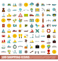 100 shipping icons set flat style vector
