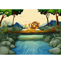 A lion with a crown at the river vector