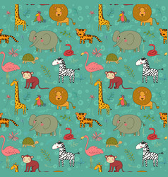 africa animals pattern cartoon zoo funny vector image