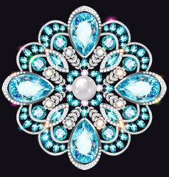 An a shiny pendant brooch with precious stones vector
