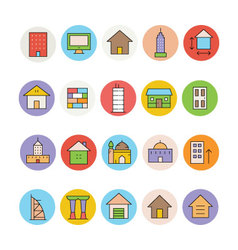 Architecture and buildings icons 3 vector