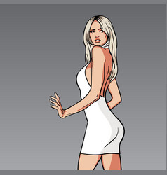 beautiful blonde woman in white dress cartoon vector image