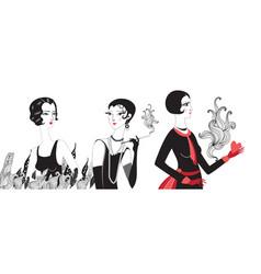beautiful portraits retro girls vector image