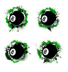 Billiard ball pool snooker sport halftone banners vector