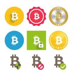 Bitcoin icons set vector