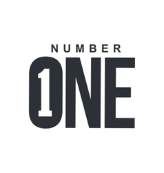 Black and white number one diagonal logo template vector image