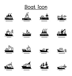 Boat ship icon set vector