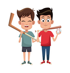 Boys sport baseball and hockey design vector