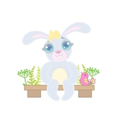Bunny Sitting On Garden Bench vector