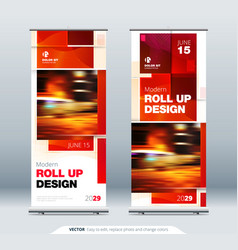 business roll up banner stand abstract roll up vector image