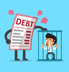 Cartoon big debt letter with businessman in prison vector image