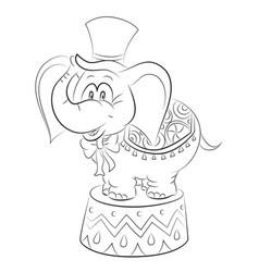 cartoon image of elephant wearing circus hat vector image