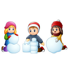 cartoon kids playing with snow isolated on a white vector image