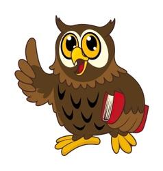 Cartoon owl bird with book vector image