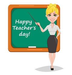 Cheerful female teacher vector