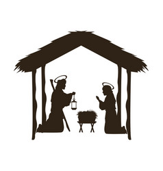 christmas christian scene with baby jesus in the vector image