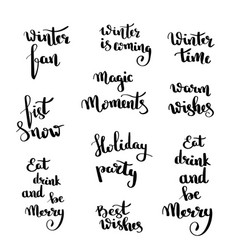 christmas hand drawn lettering design set vector image