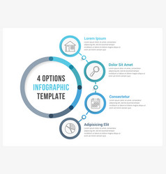 circle infographic template with four options vector image