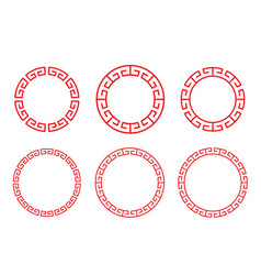 Classic chinese red circle window and photo frame vector