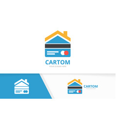 credit card and real estate logo vector image